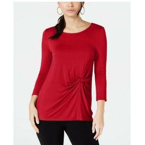 Alfani Knit Solid Side-Twist Tee 3/4 Sleeve Top